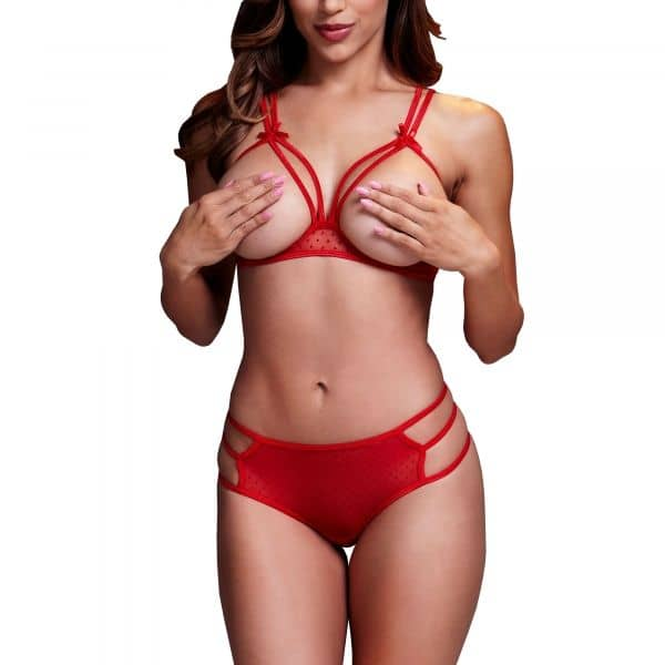 Strappy Open Bra & Panty Set O/S Red