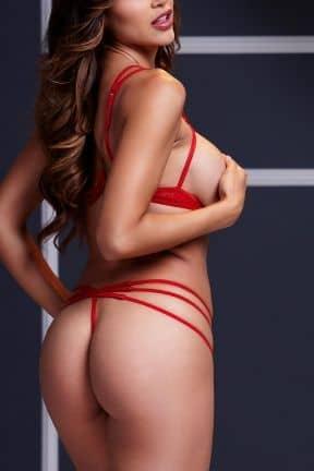 Lingeri Strappy Open Bra & Panty Set O/S Red