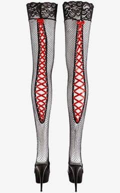 Cotelli Collection Selvsiddende strømper med rødt satinbånd