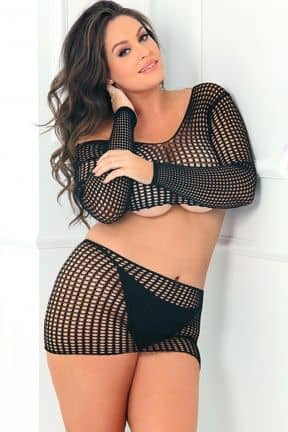 Plus Size 2PC Crochet Bodystocking OS