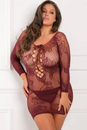 Plus Size Tie Breaker Long Sleeve Dress Red X OS