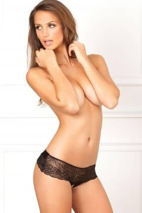 Sexet undertøj Crotchless Lace Bow-Back Panty Black