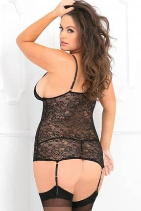 Plus Size Lace Time Garter Chemise Set