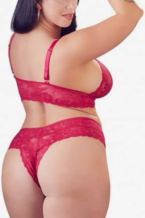 Plus Size Diva Lace Set Red