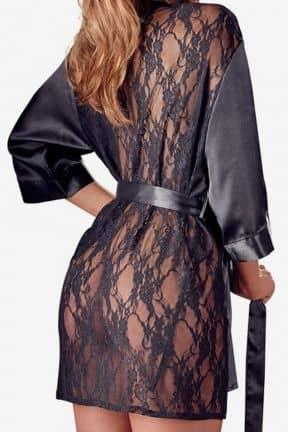 Lingeri Satin Kimono Black L/XL