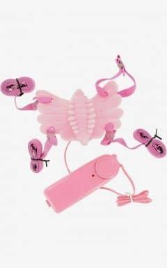 Samleje vibratorer Butterfly Massager Strap-On Vibrator Pink