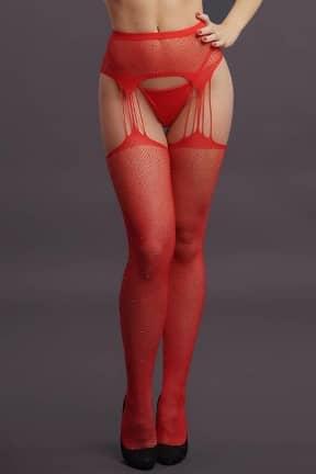 Nyheder Le Désir - Suspender Rhinestone Pantyhose Red OS
