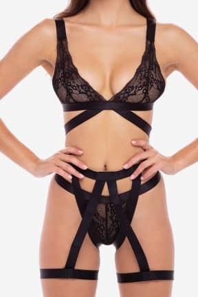 Sexiga Underkläder 3 PC straps and garters bra set BLK
