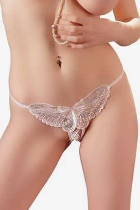 Bundløse Trusser & G-string G-streng med sommerfugl hvid