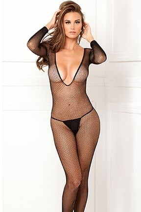 Catsuits / Bodystocking Deep-V Longsleeve Fishnet Body