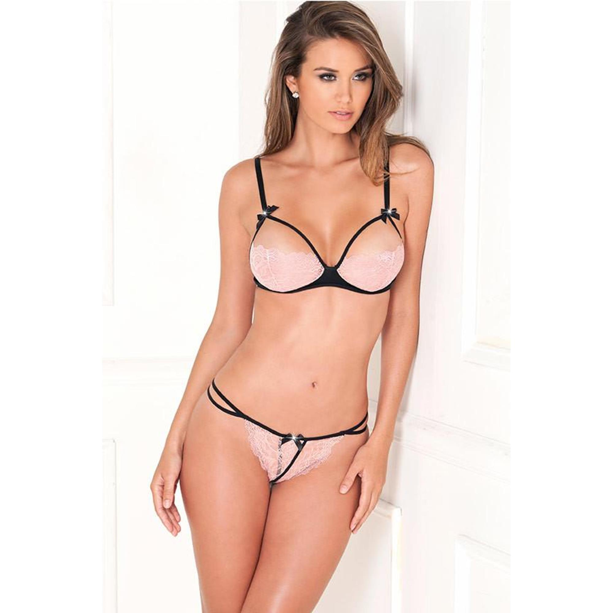 Image of 2PC Lace Bra Pink Cups and G-String S/M