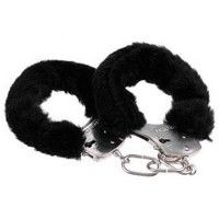 Metal Handcuffs with Black Plush